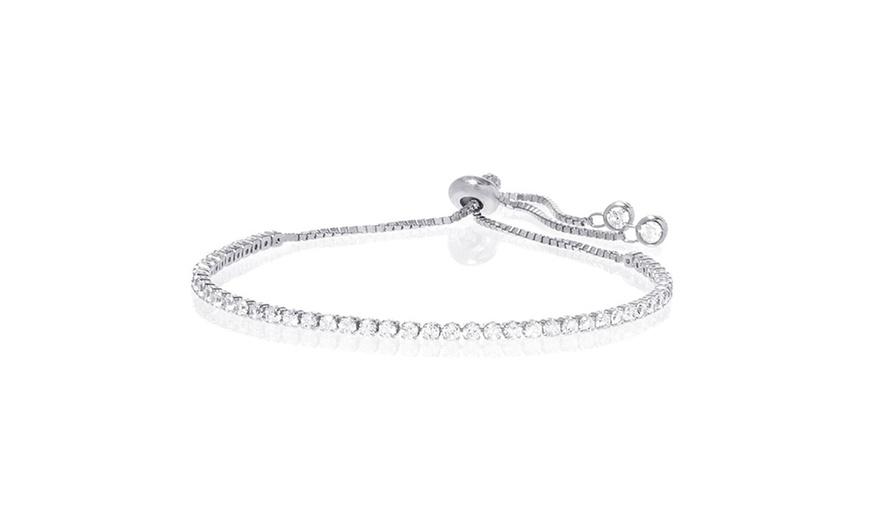 Swarovski Crystal Adjustable Tennis Bracelet in 14K White Gold