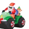 4.4' Tall Animated Airblown Santa with Elf Christmas Prop
