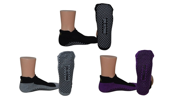 Cotton Ankle Socks for Hospital Yoga Pilates Workout Travel Pack of 3