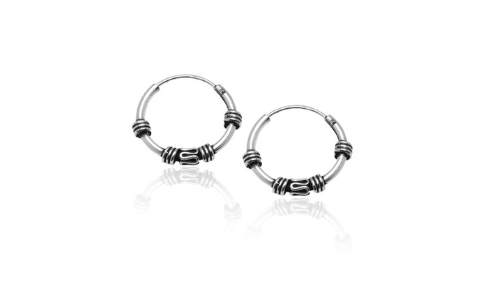 c6e399282 925 Silver Set of Three 10, 12, 14mm Bali Bead and Bali Endless Hoop