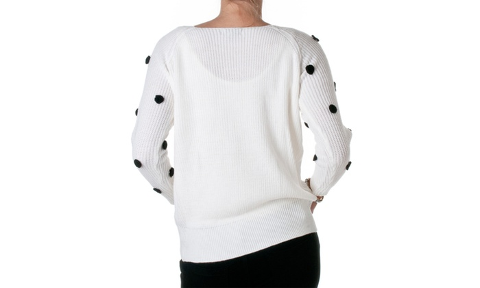 Pol clothing dotted sweater white groupon for Pol junior design