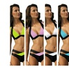 Juniors' Two Tone Bandage Bikini (Pink, Purple, Black, Blue, Green)