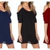 Cold Shoulder Strap Dress Plus Size 7 Colors