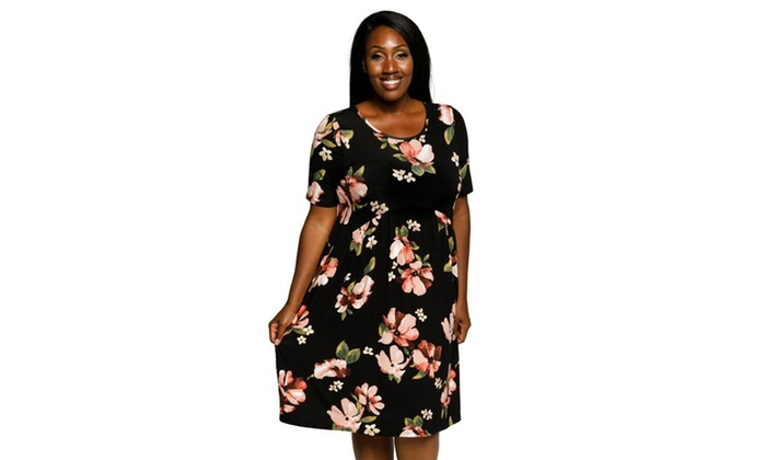 Xehar Womens Plus Size Casual Floral Pocket Detail Babydoll Dress