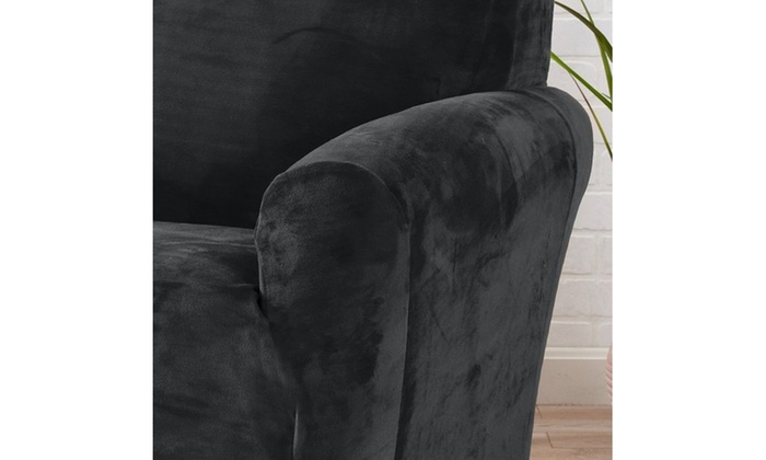 ... Gale Collection Plush Velvet Form Fitting Stretchy Seat Slipcovers ...