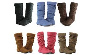Women Cute Slouch Boots Comfortable Folding Design Fashion Mid Calf