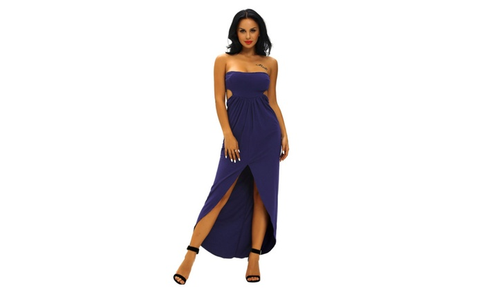 Women's Navy Blue Draped Hollow-out Maxi Dress