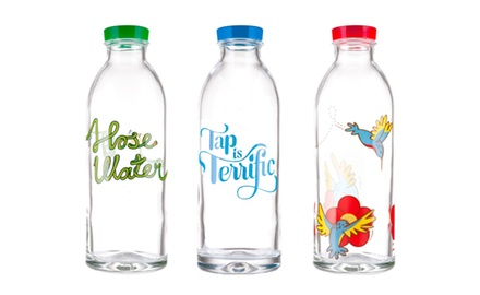 6 Glass Water Bottles (3 Classic, 3 Limited Edition) By Faucet Face (Free Shipping, ALL Orders!)