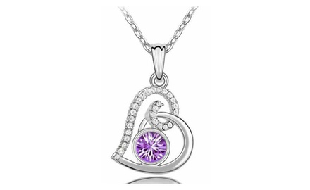 KATGI 18K White Gold Plated Love Promises Austrian Crystal Heart Pendant Necklace