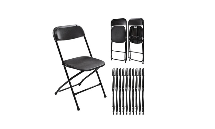 10 Plastic Folding Chairs Wedding Banquet Seat Premium Party Event