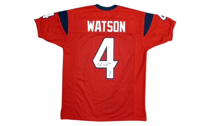 official photos 51c30 8280b Autographed DeShaun Watson Houston Texans Red Custom Jersey