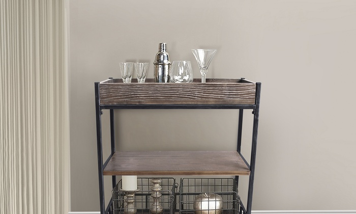 Niles Industrial Kitchen Cart in Industrial Grey and Pine ...