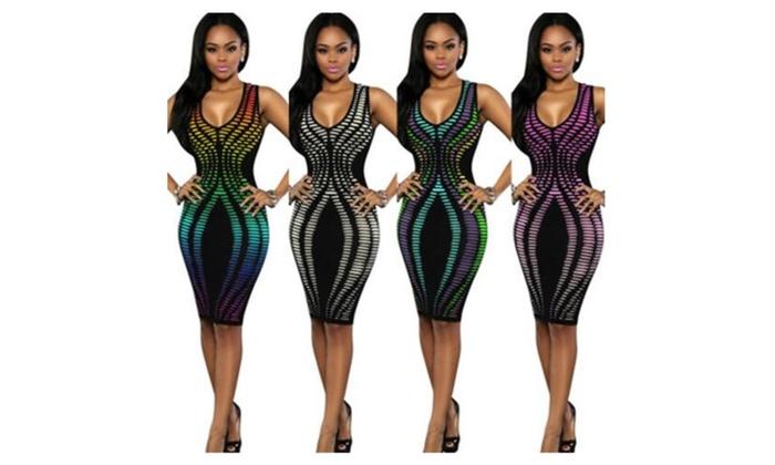 Womens Sleeveless Stripe Print Slim Fit Package Hip Bodycon Dress