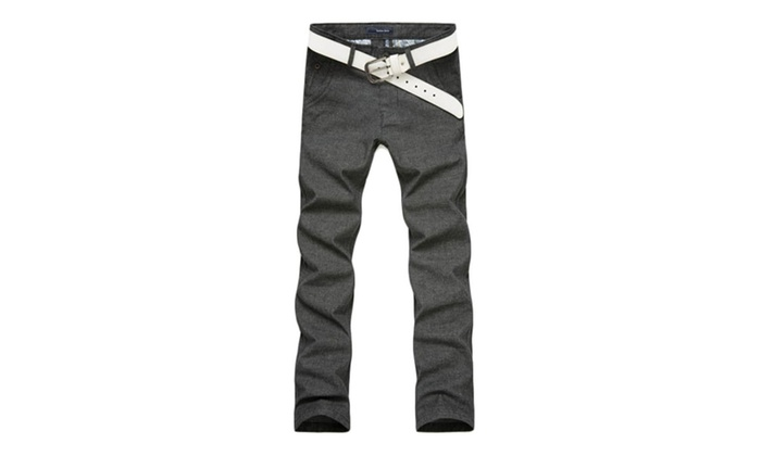 Men's Solid Zip Up with Button Closure Capri Casual Pants