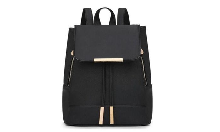 Fashion PU Leather Backpack Women Travel Bag Black | Groupon