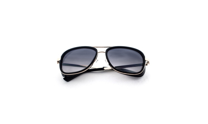 MLC Eyewear Dapper Frame Metal Horned Rim Sunglasses UV400