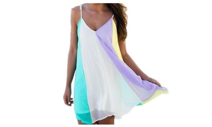 Women Summer Casual Dress Colorful Mini Dress