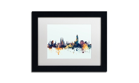 Michael Tompsett 'Barcelona Spain Skyline Blue' Matted Black Framed Art 592981d9-4cc3-4117-a8d6-7a38fa5af064