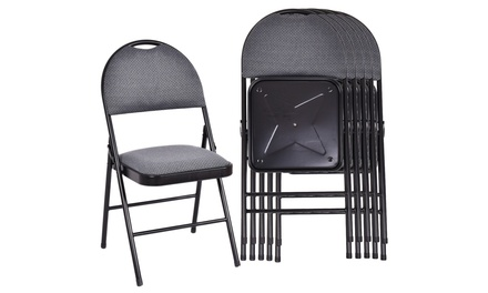 Costway Set of 6 Folding Chairs Fabric Upholstered Padded Seat