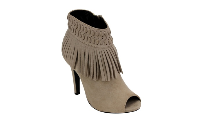 Beston AD65 Women's Fringe Side Zipper Stiletto Ankle Booties