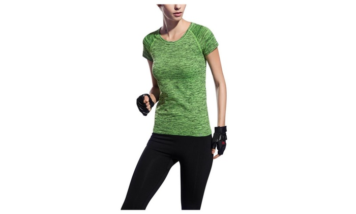 Women's Active Short-Sleeve Crew Neck Running Exercise T-Shirt