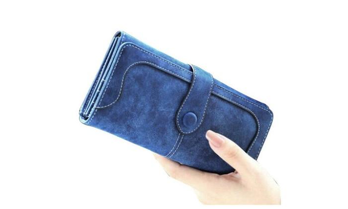 Bifold Pockets Luxury Design Women's Faux Leather Long Clutch Wallet