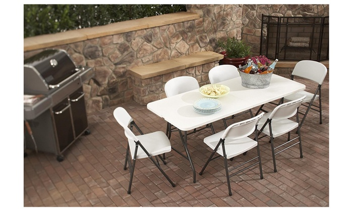 6 Foot X 30 Inch Fold In Half Molded Folding Table White