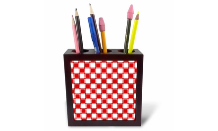 Tile Pen Holder - Contemporary Red and White Squares Pattern - 5-inches