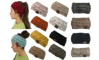 Women CC Hat Soft Stretch Knit Lined Ear Warmer Headband Beanie