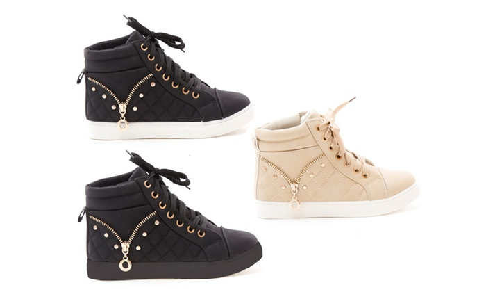 New Women's Studded Quilted High Top Lace Up Sneaker