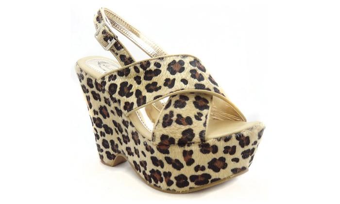 Leopard Criss-Cross Platform Wedge Sandal