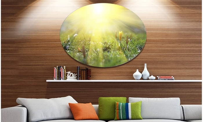 Bright Sunset Above Spring Flowers Oversized Landscape Metal Circle Wall Art