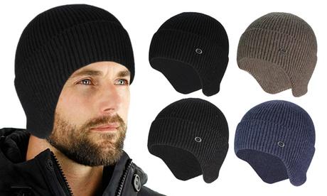 Winter Warm Knit Fleece Lined Cap Hat Beanie Ear Flaps