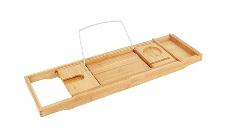 Natural Bamboo Bathtub Caddy Tray Organizer with Extending Sides 27eacc03-3001-429f-953a-45f5210f0a11