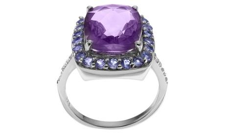 Journee Collection Sterling Silver Multi-gemstone Halo Ring 01ab0ca5-dea0-4382-962f-671b35143cca