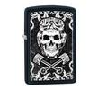 Zippo Black & White Skull Design Pocket Lighter, Black Matte 29088