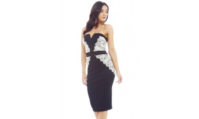 AX Paris Lace Side Boobetube Bodycon  Dress
