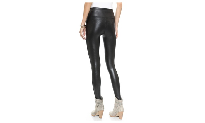 8434a0c6d19149 Spanx Ready-To-Wow Faux-Leather Ankle Leggings Slimming Black 2437 S ...