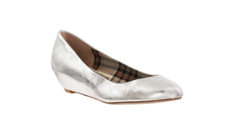 Riverberry 'Victoria' Wedge Heel Metallic Slip-on Shoes, Silver be67b3c9-b6f7-4abd-8df4-b36a58fcf41a