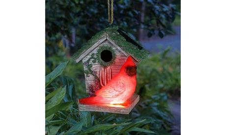 Exhart Solar Cardinal Hanging Bird House, 6 by 8 Inches (Goods Outdoor Dcor Bird Feeders & Baths) photo