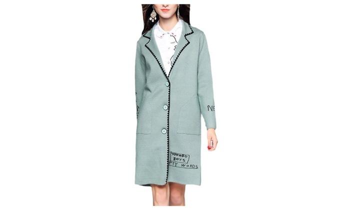 Women's Long Sleeve Loose Fit Glyph Printing Nylon Jacket