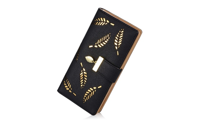Women's Leather Card Holder Purse Zipper Buckle Elegant Clutch Wallet