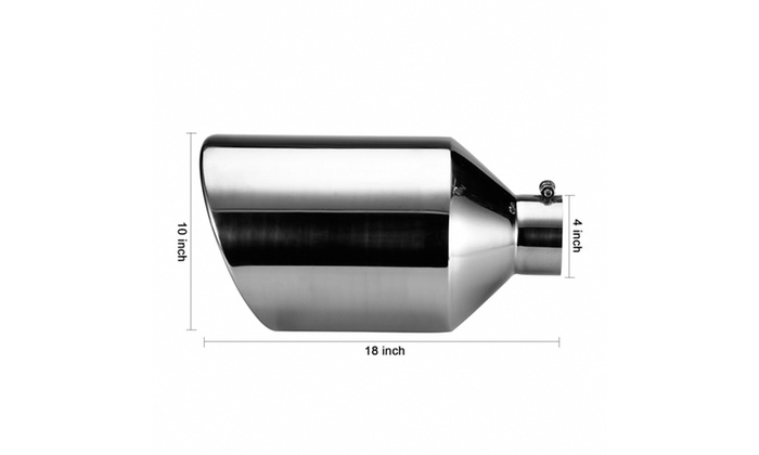 "Stainless Steel Diesel Exhaust Tip 4/"" Inlet 10/"" Outlet 18/"" Long for Car Trucks"