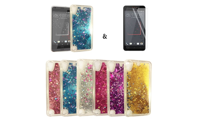 huge discount 0af64 76800 Liquid Glitter Star Case & Tempered Glass Included! For HTC Desire ...