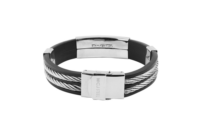 339b6a0651061 Men's Stainless Steel Cable Inlay Rubber ID Bracelet | Groupon