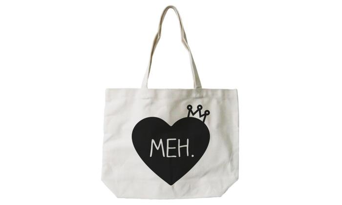 women s cute meh princess crown canvas tote bag natural shopper