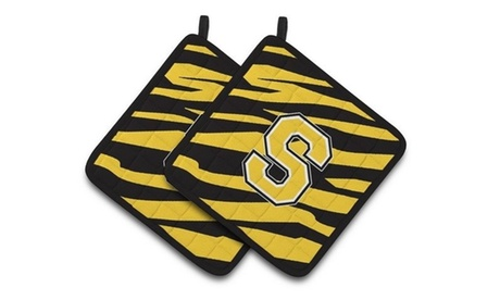 Carolines Treasures CJ1026-SPTHD Monogram Initial S Tiger Stripe - Black Gold Pa photo