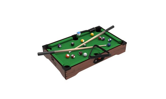 Mini Tabletop Pool Set- Billiards Game Includes Game Balls, Sticks ...