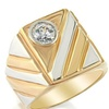 Mens CZ Ring - 14K White And Yellow Gold PLated - Two Tone Bezel Set
