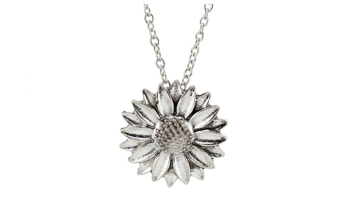Vintage silver sunflower pendant necklace for women groupon vintage silver sunflower pendant necklace for women aloadofball Gallery
